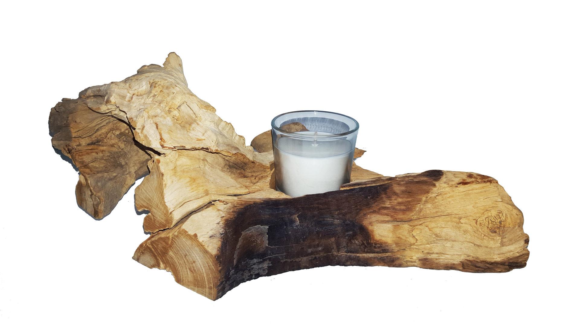 Kerzenständer Holz Weinflasche ~ Kerzenhalter, Teak, hell, ca 20 40×20 30×10 cm  CleanPrince de