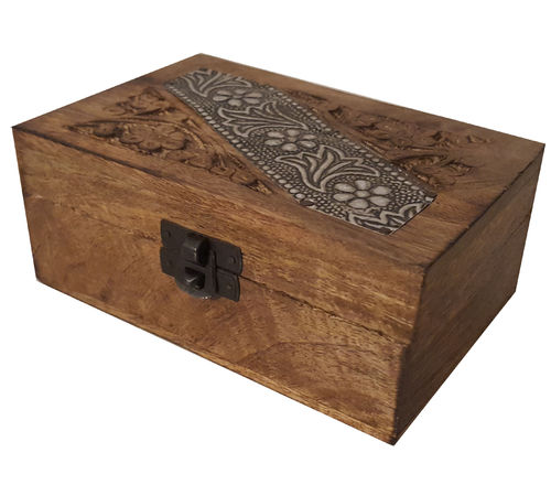 Deko Holzbox METALL-Ornament 155x95mm